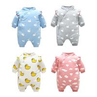 女婴儿衣服0岁3个月6男宝宝长袖哈衣爬服加厚2新生儿连体衣秋冬装
