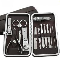 12件不锈钢指甲刀套装指甲剪修脚刀家用指甲钳修甲工具指甲包美甲