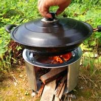 便携户外野营用品野炊柴火炉子自驾游野餐做饭露营烧木柴炉具 炉体+锅架