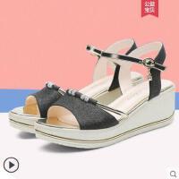 户外新品坡跟凉鞋新款韩版百搭性感仙女风罗马小清新一字带高跟鞋