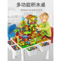 男童多功能积木桌子6拼装4大颗粒8动脑3岁以上女孩益智力儿童玩具
