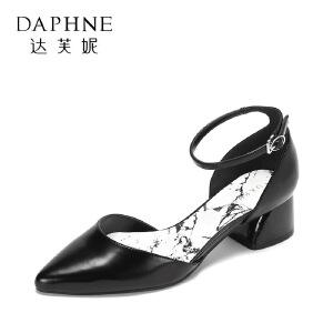 达芙妮 春夏甜美玛丽珍鞋 时尚尖头一字扣浅口粗跟单鞋