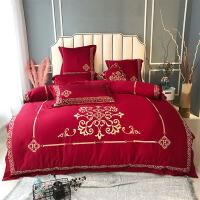 欧式金线刺绣60贡缎婚庆喜被床品四件套纯棉结婚床上用品 YS-罗卡 红