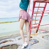 运动短裤女健身训练防走光内衬冰丝瑜伽跑步训练速干短裤百褶裙裤