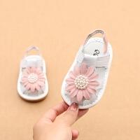 2019夏款花朵女宝宝凉鞋真皮包头凉鞋0-2岁婴幼儿牛皮儿童叫叫鞋
