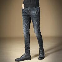 加绒牛仔裤男秋冬款2107韩版修身型小脚裤男士裤子加厚男裤