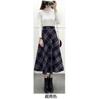 格子半身裙女秋冬高腰新款中长款毛呢子韩版学生伞裙百搭显瘦
