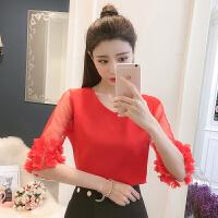 韩版气质淑女V领套头网纱拼接雪纺衫女夏五分袖立体花朵上衣