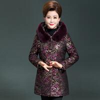 妈妈装棉衣冬装短款加厚老年人加肥加大中老年女装羽绒50岁60