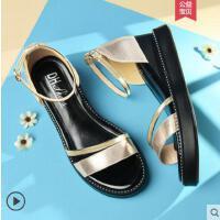 坡跟凉鞋女户外新品新款百搭仙女风超火一字扣时尚中跟露趾罗马鞋