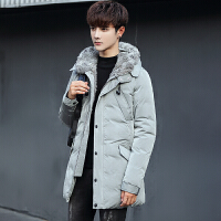 冬季男士青年加厚带毛领羽绒服男款韩版修身款连帽男装羽绒衣外套