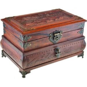 老挝大红酸枝珠宝箱长27宽17.2高16cm