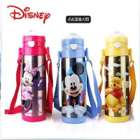 迪士尼保温吸管水杯米奇杯子儿童不锈钢水壶宝宝保温杯带吸管