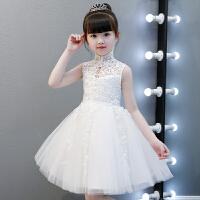 白雪公主裙花童钢琴演出服白色 女童婚纱蓬蓬纱儿童生日晚礼服