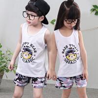 儿童无袖t恤女纯棉夏季男宝宝背心短裤薄款套装清新可爱运动汗衫家居服