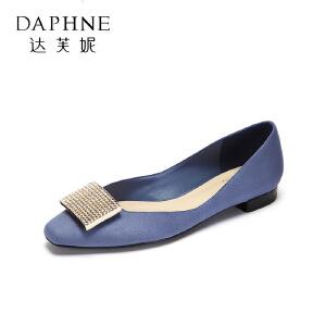 Daphne/达芙妮圆漾单鞋优雅绒面钻饰金属浅口低跟婚鞋