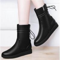 古奇天伦秋冬新款短靴女平底马丁靴内增高坡跟厚底靴子中筒靴