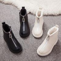 女童靴子秋冬季新款�和�英���L�R丁靴小女孩公主短靴加�q棉鞋