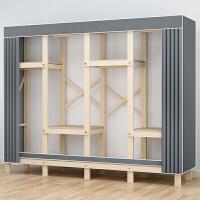 简易衣柜家用卧室经济型布衣柜出租房用现代简约实木柜子结实耐用