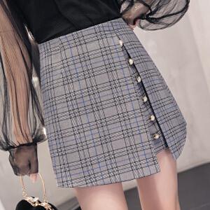 AGECENTRE 2018春装新款 春季春夏新款韩版高腰格子不规则假两件裙裤阔腿短裤女外穿