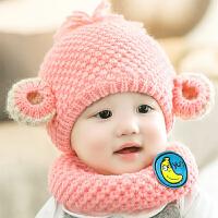 宝宝帽子秋冬季婴幼儿保暖套头帽1-2岁男女童护耳毛线帽围脖套帽