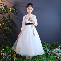 2018春夏儿童礼服公主蓬蓬裙长袖钢琴演出服花童婚纱裙主持人女