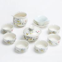 【品牌热卖】工夫茶杯具套装茶具整体工夫茶杯盖碗茶海套装茶具茶滤玉瓷杯茶道配件冲壶兰彩杯 玉瓷杯9件套---款1