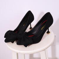 蝴蝶结浅口单鞋女春新款韩版细跟尖头显瘦高跟ol鞋粉色伴娘鞋