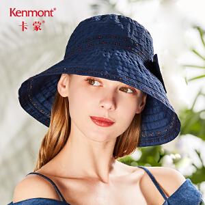 卡蒙防紫外线太阳帽可折叠女式帽子夏季遮阳帽防晒沙滩帽大檐出游3568