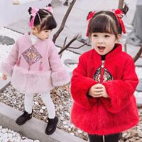 女童毛呢外套秋冬装宝宝唐装拜年服古装儿童中国风新年装