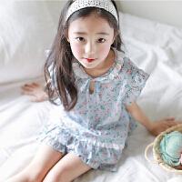 夏季儿童睡衣女童纯棉短袖韩版甜美公主清新碎花小女孩家居服套装