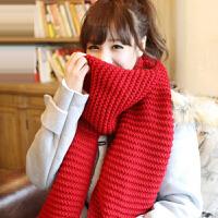 毛线围巾女冬季韩版百搭原宿 学生针织可爱纯色简约长款加厚围脖