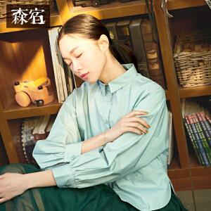 森宿P花园唱片春秋装新款纯色宽松蝙蝠袖纯棉衬衫女长袖