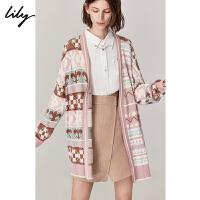 【2件4折到手价:239.6元】 Lily2020春新款女装OL时髦年轻拼色V领宽松中长款毛针织衫1919/1904/