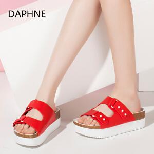 Daphne/达芙妮2016夏新款女凉鞋 时尚搭扣厚底增高拖鞋