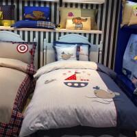 儿童四件套全棉地中海贴布绣男孩夏季床上用品样板间纯棉床单被套