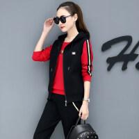新款休闲运动套装女春秋时髦韩版修身跑步运动服卫衣三件套潮