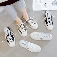 时尚平底女士休闲板鞋 学生饼干鞋贝壳头百搭帆布鞋女 新款系带小白鞋女