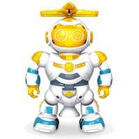 儿童玩具灯光音乐跳舞机器人360旋转电动太空模型 黄色