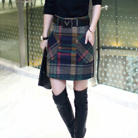 新款2017秋冬显瘦加厚格子裙毛呢短裙包臀裙女三季拼接打底半身裙 绿色