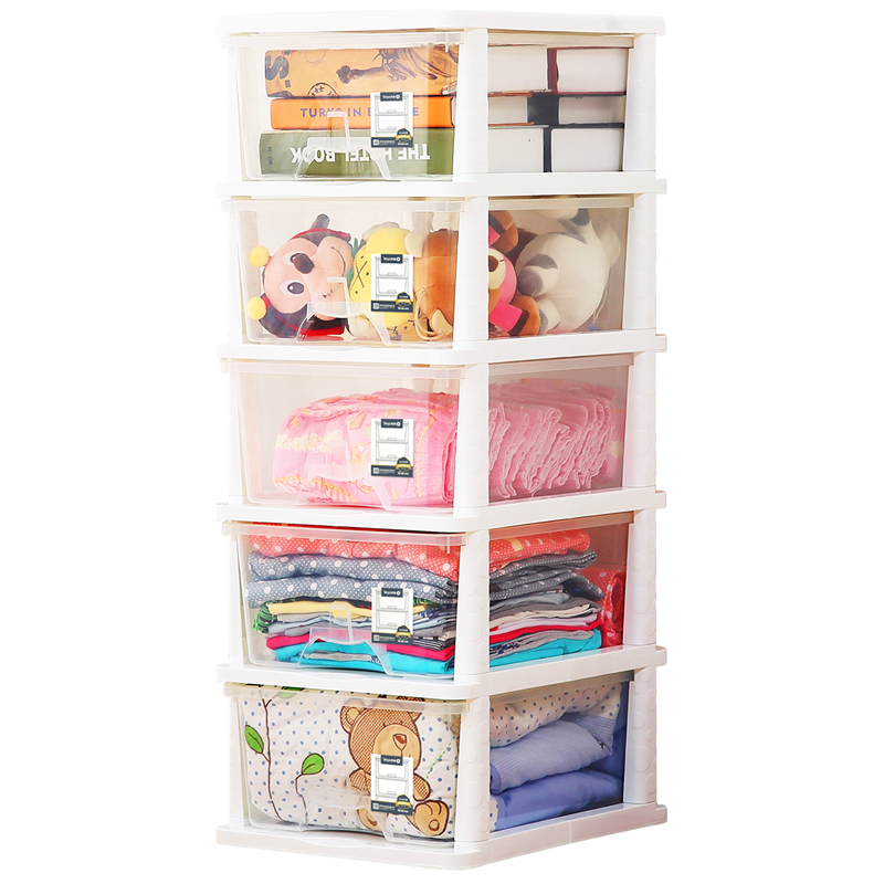 Yeya也雅日式简约五层透明塑料抽屉式收纳柜 衣物零食杂物储物整理柜