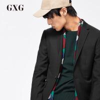 GXG男装 秋季男士时尚都市气质商务流行绅士修身黑色西装外套男潮