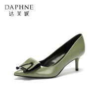 Daphne/达芙妮圆漾春秋单鞋时尚通勤OL尖头撞色女单鞋
