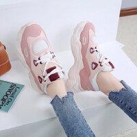 女士厚底增高小白鞋 新款系带运动风女鞋 韩版百搭学生休闲鞋子女老爹鞋子