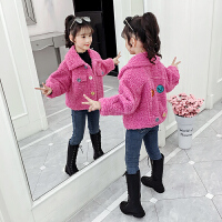 女童外套冬装儿童加绒羊羔绒棉衣中大童冬款上衣