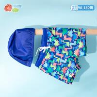 贝贝怡2021夏装新款男童男孩防晒速干宝宝儿童泳帽泳裤套装两件套