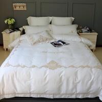 家纺欧式宫廷刺绣埃及长绒棉四件套纯棉贡缎白色被套床单床上用品