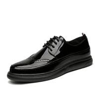 漆皮亮面布洛克雕花男鞋夏季潮鞋厚底增高韩版青年百搭黑色婚礼鞋 黑色