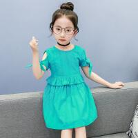 夏装新款韩版童装女童露肩连衣裙中大童儿童公主裙小女孩裙子