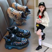 女童运动鞋加绒秋冬款新款儿童老爹鞋二棉中大童